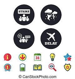 Strike icon. Storm weather and group of people. - Strike...