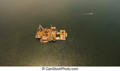 Dredging platform on the sea. Philippines, Manila.