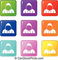 Hood icons 9 set - Hood icons of 9 color set isolated vector...