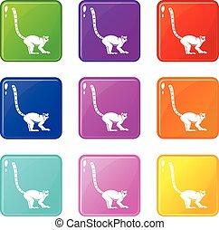 Lemur monkey icons 9 set - Lemur monkey icons of 9 color set...