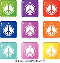 Rock sign icons 9 set - Rock sign icons of 9 color set...