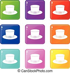 Leprechaun hat icons 9 set