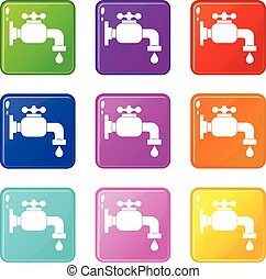 Water tap icons 9 set - Water tap icons of 9 color set...