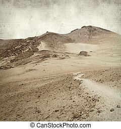textured old paper background with landscape of Tenerife