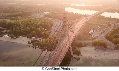 Video of bridge at sunset in Kyiv Ukraine - Drone video of...