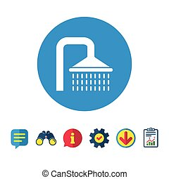 Shower sign icon. Douche with water drops symbol....