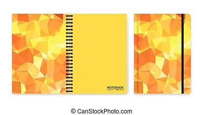 Cover design for notebooks or scrapbooks with triangular yellow pieces
