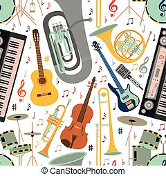 Musical seamless pattern made of different musical instruments, treble clef and notes