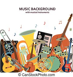 Music background made of different musical instruments, treble clef and notes