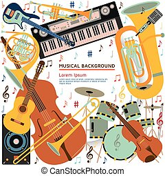 Musical background made of different musical instruments, treble clef and notes. Text place