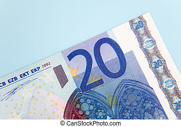 20 euro note on light blue background
