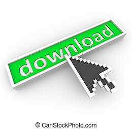 Download Button and Web Arrow - A web browser arrow hovers...