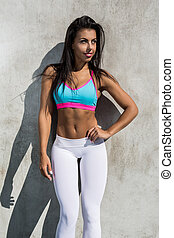 Fitness girl outdoors exercise.