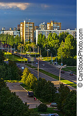 View of the evening city of Togliatti. Russia