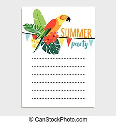 Summer birthday party greeting card, invitation. Parrot bird, palm leaves, hibiscus flowers. Paper flags decoration. Tropical jungle design. Web banner, background. Vector illustration, flat design.