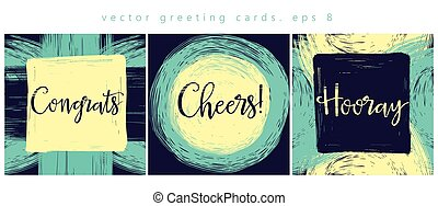 Three cards of congratulations.eps - Set of greeting cards /...