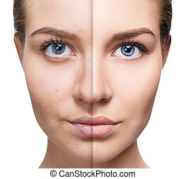 Portrait of woman before and after retouch.