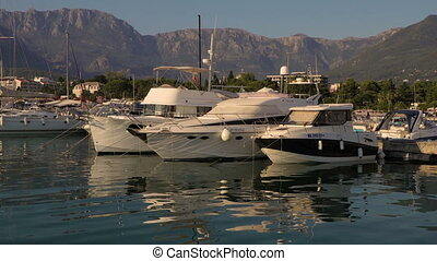 Yacht Club in Marina area at sunset in Montenegro - Yacht...
