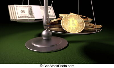 Bitcoins and Money on the Scales, 3d animation, 4K. see more...