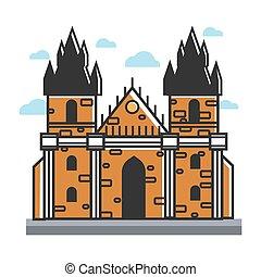 Prague castle Czech travel popular destination, famous culture landmark vector icon