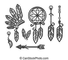 Native American Indians traditional culture tools symbols...