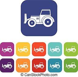 Skid steer loader icons set flat - Skid steer loader...