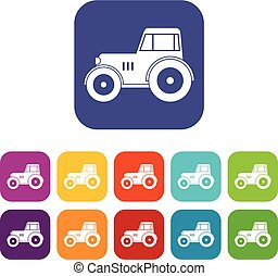 Tractor icons set flat - Tractor icons set vector...
