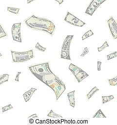 Flying US Dollars Seamless Pattern Vector. Cartoon Money...