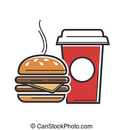 American fast food symbols for USA America travel tourist...