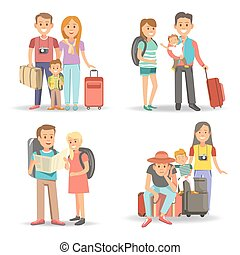 Traveling family children summer holiday tourism vacations vector flat icons
