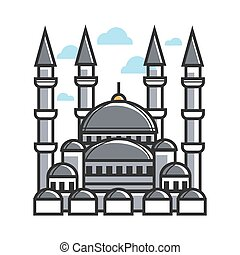 Turkey symbol mosque for culture, famous travel or tourist...