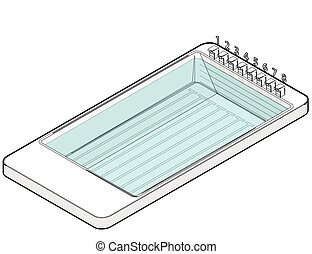 Outlined isometric swimming pool in mobile phone. Sports in...
