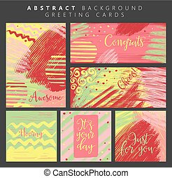 colorful abstract greeting cards.eps - Set of artistic...