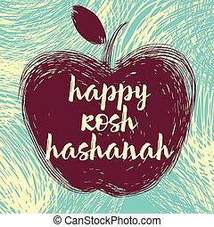 rosh hashanah apple.eps - Greeting card wiyh symbol of Rosh...