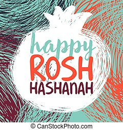 rosh hashanah bright.eps - Greeting card wiyh symbol of Rosh...