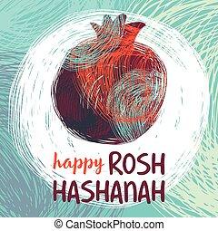 rosh hashanah pomegranate.eps - Greeting card wiyh symbol of...