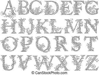 Vintage fishnet (floral) font. - Set of fishnet (lace) font...