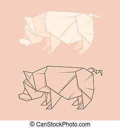 Set illustration paper origami of pig. - Set vector simple...
