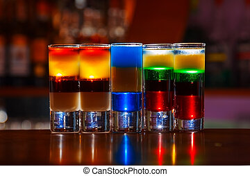 dinks - Colorful alcohol  shot drinks on bar. cocktail
