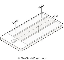 Outlined isometric road in mobile phone. Roadway...