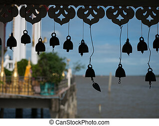 Wat Hong Thong in Chachoengsao, Thailand - Silhouettes of...
