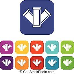 Sewerage icons set flat - Sewerage icons set vector...