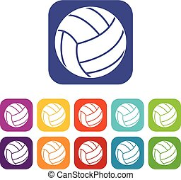 Volleyball ball icons set flat