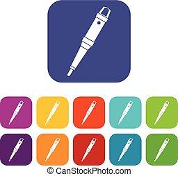 Grip of tattoo machine icons set flat - Grip of tattoo...
