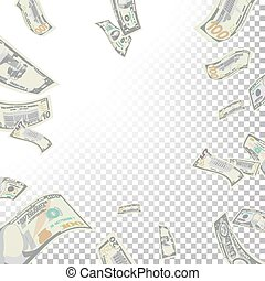 Frame From Flying Dollar Banknotes Vector. Cartoon Money...