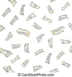 Flying Dollars Seamless Pattern Vector. Cartoon Money Bills...