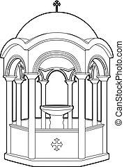 Greek phial dessin - Vector illustration of a religious...