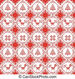 Scandinavian seamless cross stitch inspired Nordic style Christmas pattern in cross stitch with robin, snowflake, star, decorative ornaments in red and white