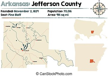 Arkansas: Jefferson county map - Large and detailed map of...