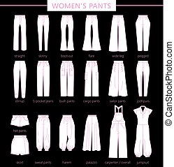 women's pants.eps - Set of silhouettes of different types of...